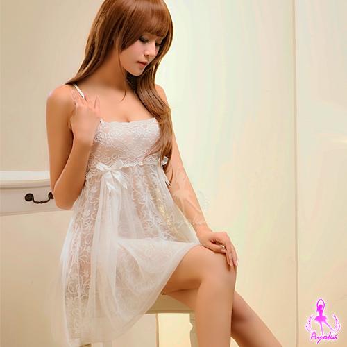 快樂天堂情趣用品甜美雅致白色蕾絲襯衣二件式性感睡衣
