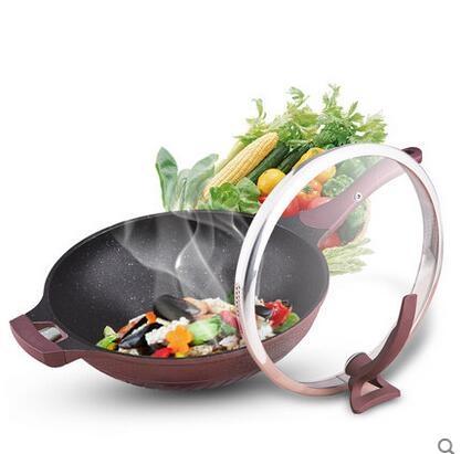 不粘鍋無油煙炒鍋韓國麥飯石鍋燃氣灶電磁爐專用平底炒勺家用