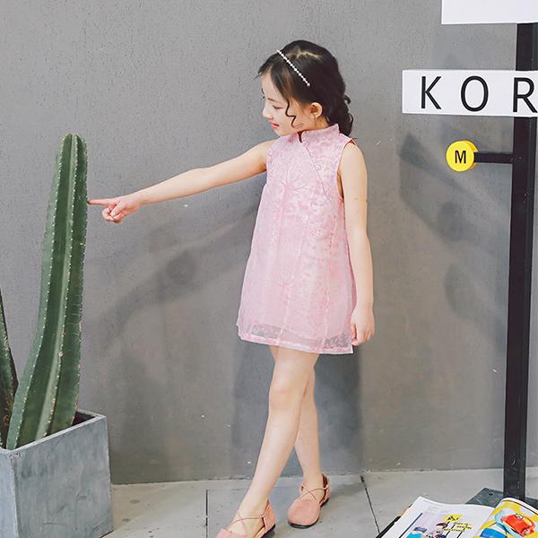 女童短袖洋裝旗袍式連身裙背心裙小禮服唐裝童裝MS60050好娃娃