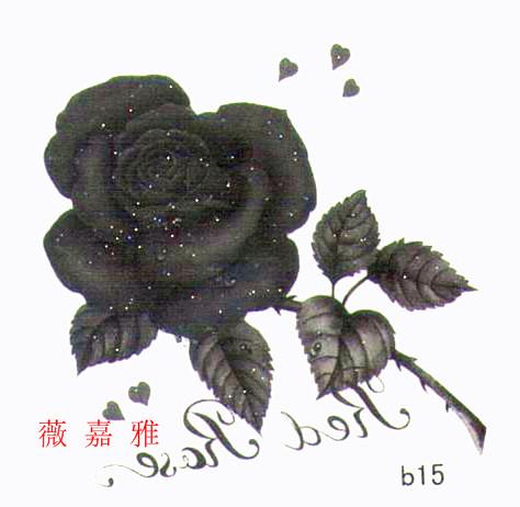 薇嘉雅 玫瑰花 超炫圖案紋身貼紙 b15