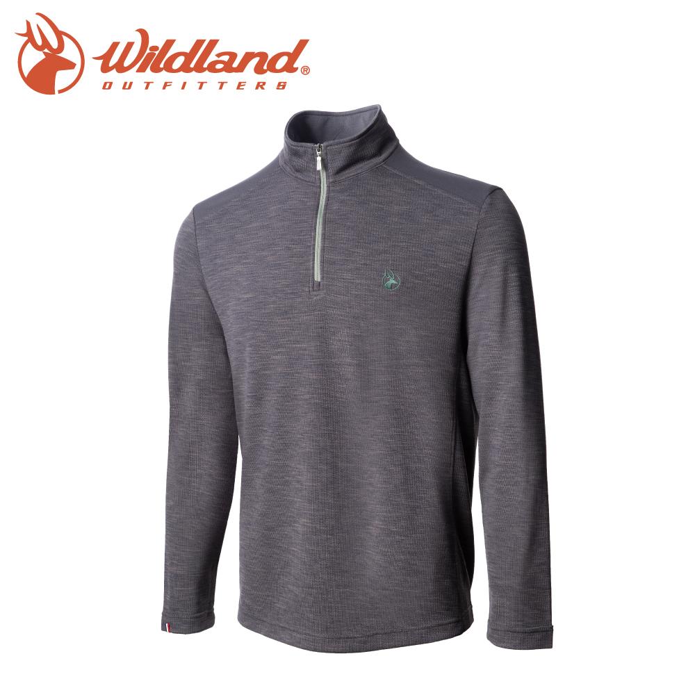 【Wildland 荒野 男 彈性雙色立領長袖上衣《灰》】0A72608/半領襟/運動衣/休閒衫/吸濕排汗