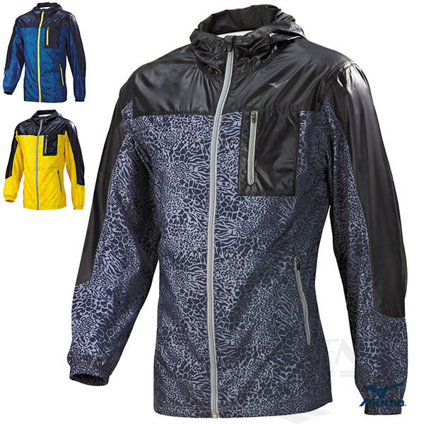 MIZUNO美津濃防潑水路跑風衣外套黑豹紋抗UV反光燙印