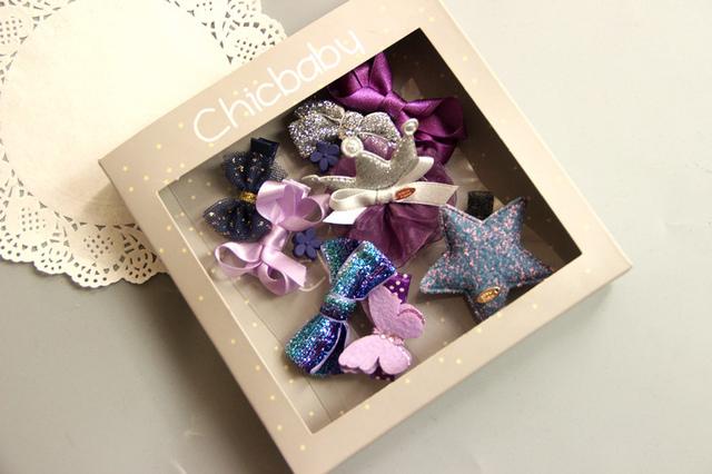 10件組韓國風女童蝴蝶結皇冠精美髮夾公主髮夾寶寶邊夾髮飾紫色系~EMMA商城