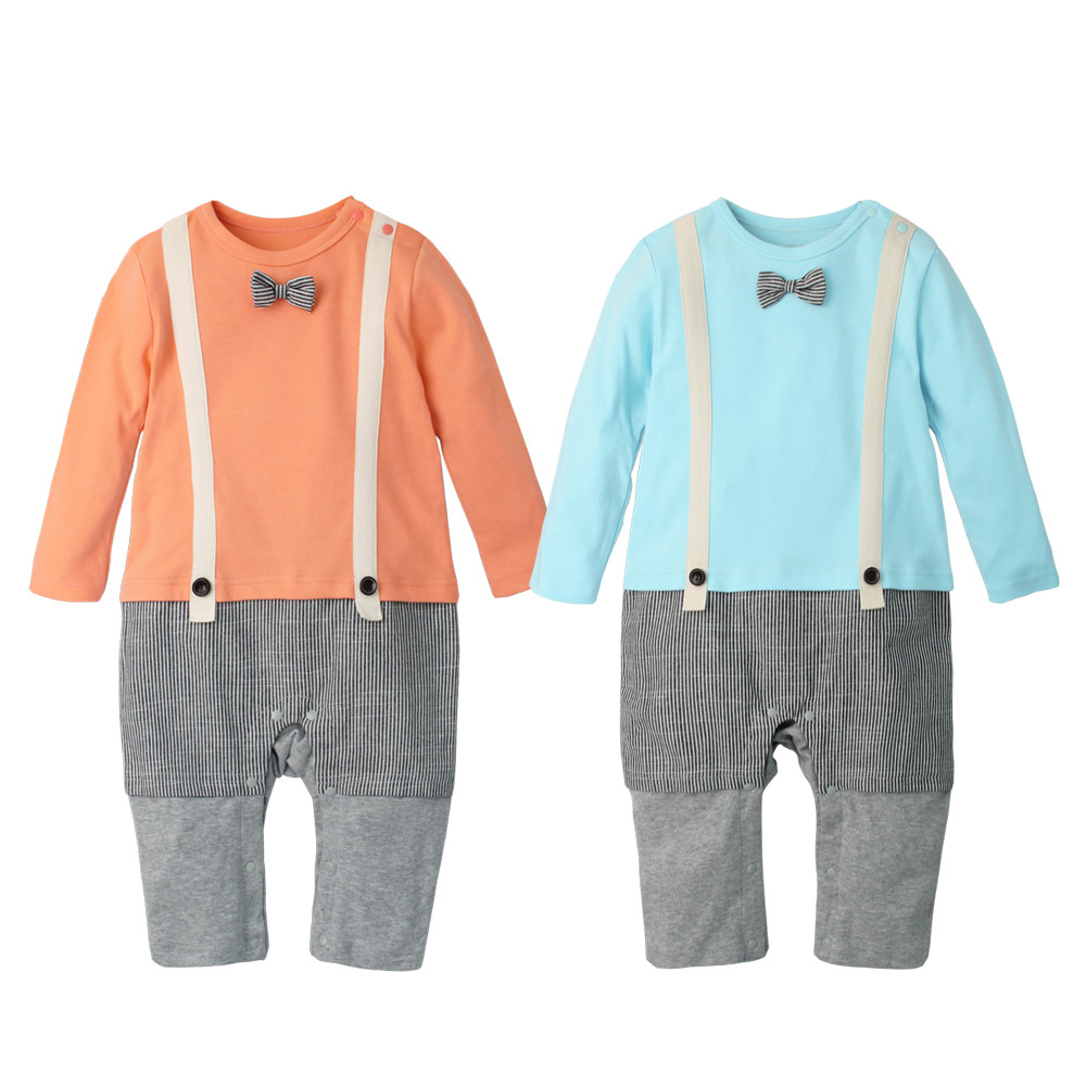 Augelute Baby小領結假三件吊帶長袖連身衣70070
