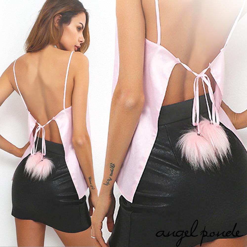 天使波堤LE0125緞面毛球後綁肚兜美背殺手細肩帶冰絲小可愛上衣-粉紅派對閨房情趣睡衣