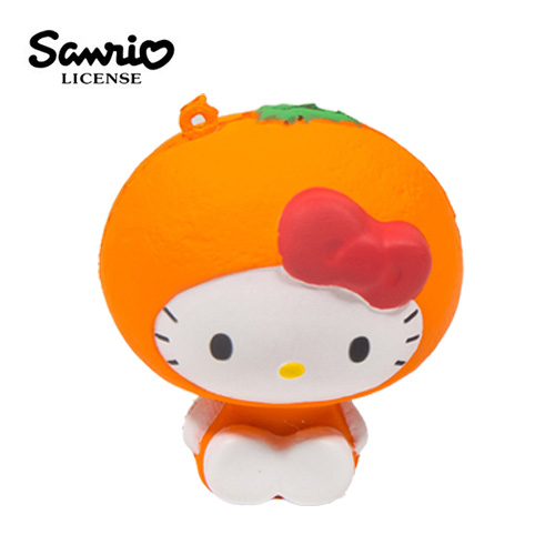 橘子款【日本進口】Hello Kitty 凱蒂貓 水果造型 捏捏吊飾 吊飾 捏捏樂 軟軟 三麗鷗 Sanrio - 614575