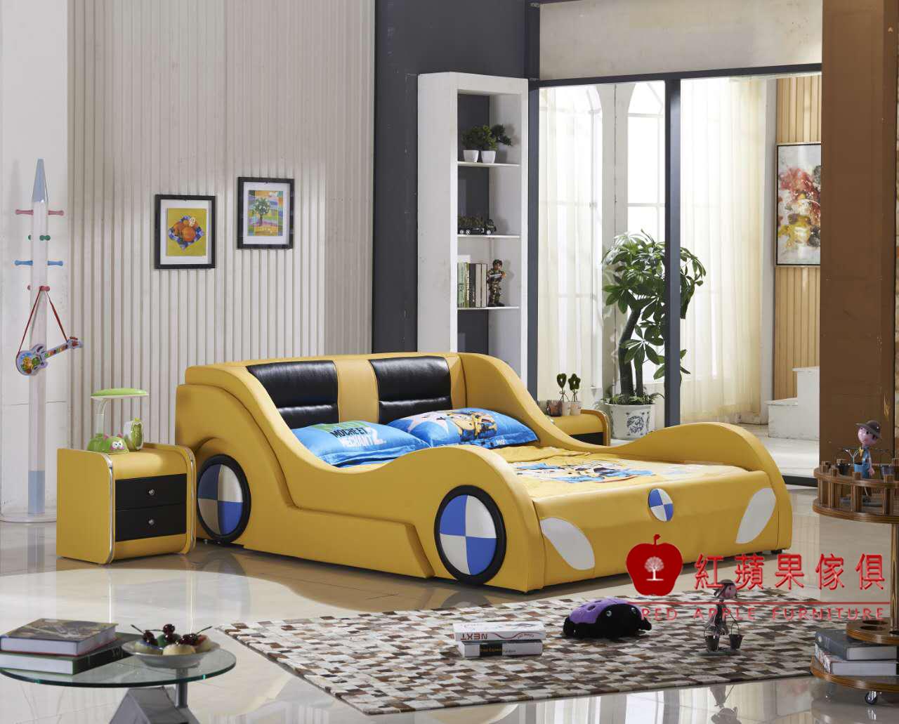 紅蘋果傢俱Y886兒童家具跑車床兒童功能床四尺五尺汽車床床架造型床床頭櫃