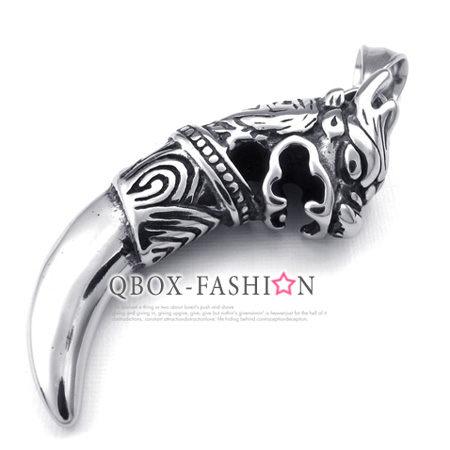 《QBOX 》FASHION 飾品【 W10023657】精緻個性龍鋼牙316L鈦鋼墬子項鍊