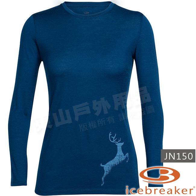 Icebreaker 103920-401靛藍女羊毛圓領長袖T恤Tech美麗諾保暖上衣快乾機能服排汗休閒透氣衫