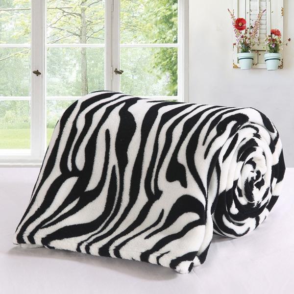 保暖法蘭絨隨意毯/童毯(90x140cm) 時尚斑馬