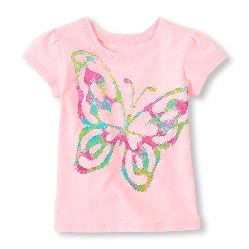 Place短袖上衣  蝴蝶圖案粉紅色短袖T恤 4T (Final sale)