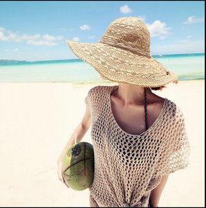 2015新款春夏海灘度假手工大簷草帽沙灘帽大沿帽遮陽帽折疊太陽帽子
