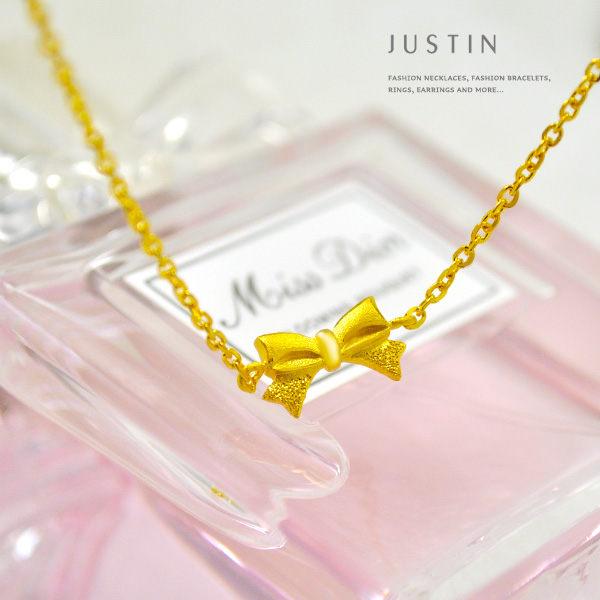 Justin金緻品 黃金項鍊 愛戀蝴蝶結 金飾 9999純金套鍊 熱賣款