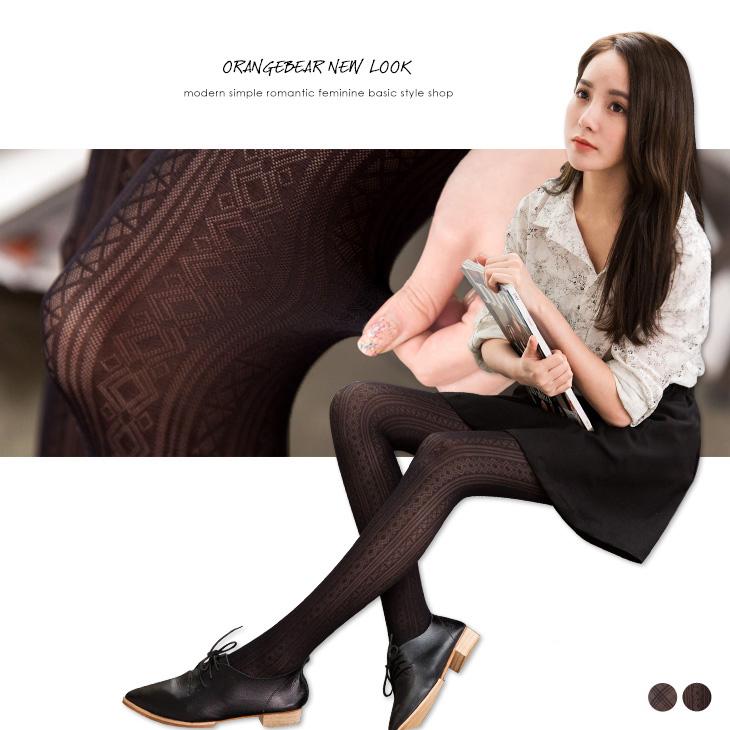 OB嚴選《ZB0025》性感透膚菱格/直條黑絲襪.2色--適 S~L