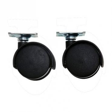 45MM 平板式雙軸傢俱腳輪黑色