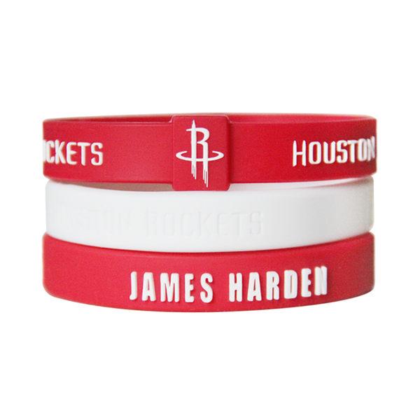 NBA官方授權正版 運動矽膠手環-休士頓火箭 JAMES HARDEN 哈登 大鬍子 組合(含三條)