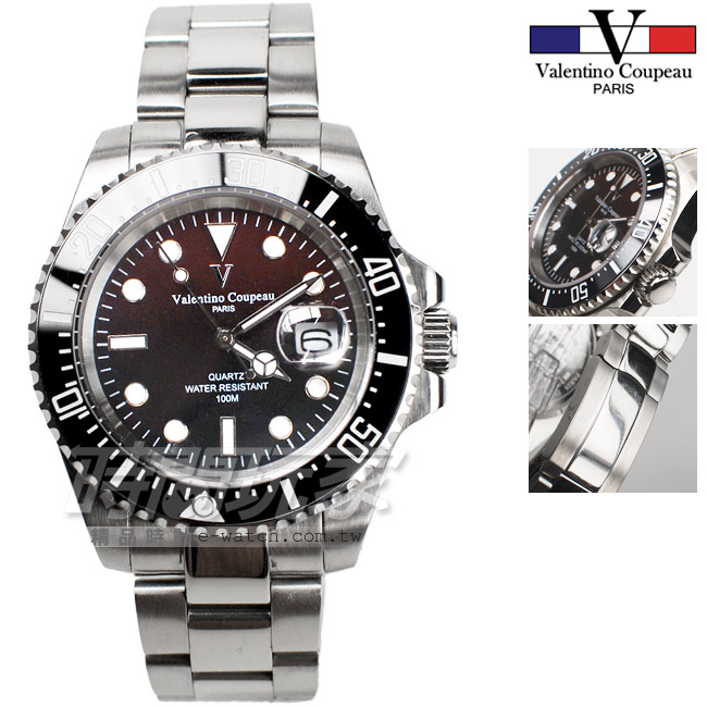 valentino coupeau 范倫鐵諾 夜光時刻 不銹鋼 防水 男錶 咖啡色漸層面盤 潛水錶水鬼 石英錶 V61589咖黑