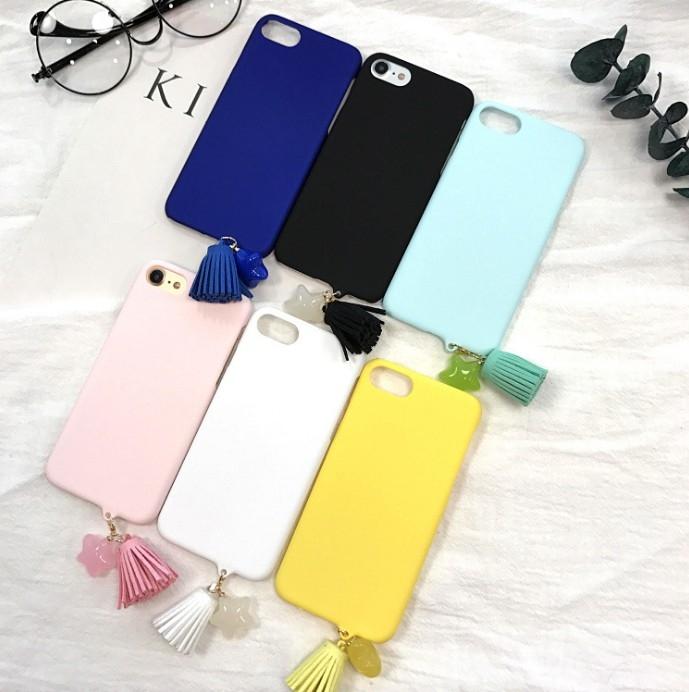 韓版蘋果手機殼iPhone7 iPhone6 plus i6s i7簡約糖果色流蘇掛飾磨砂硬殼