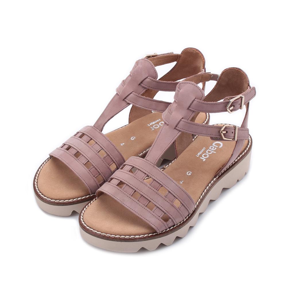 德國 GABOR 反毛格子羅馬涼鞋 粉 22.703.41 女鞋