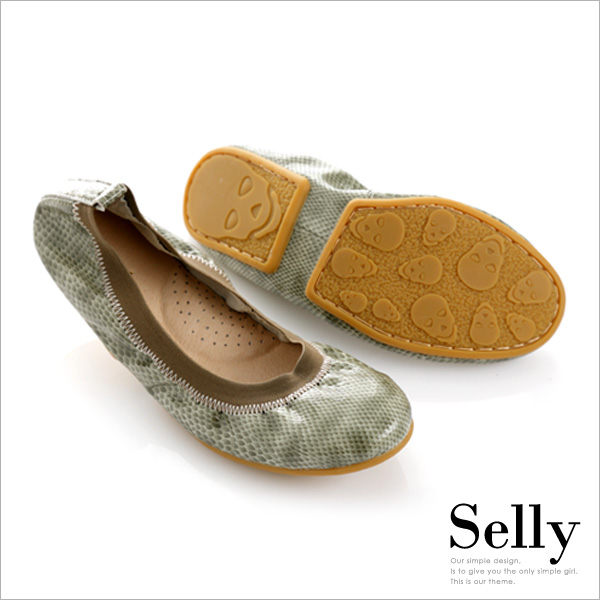 Selly *沙粒*旅行女孩II ‧ 動物紋真皮可攜式軟Q娃娃鞋(附專屬鞋袋)   *蚚蜴綠