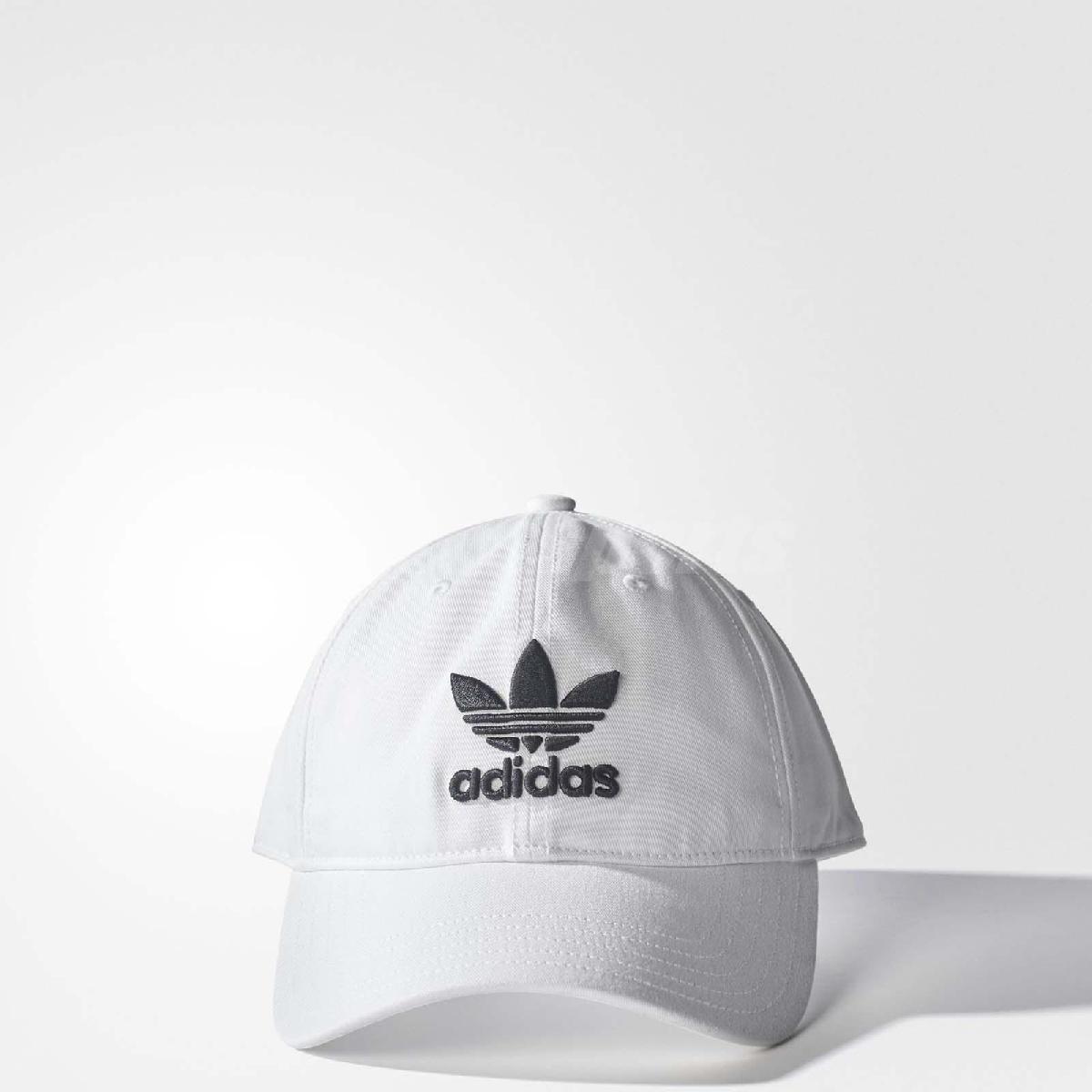 adidas 帽子 ORIGINALS TREFOIL CAP 老帽 棒球帽 經典 三葉草 基本款 男女 白黑 白 黑 【PUMP306】 BR9720