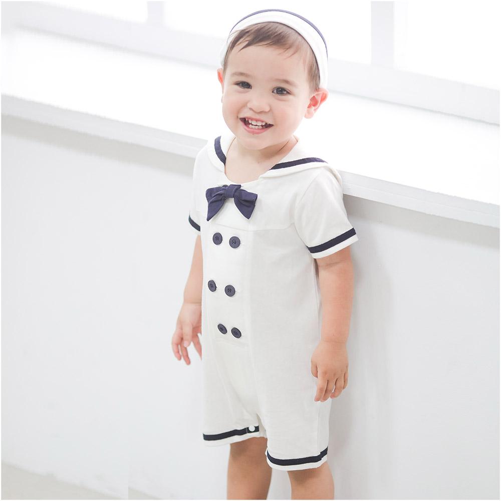 Augelute Baby海軍領水手服造型連身衣附帽子32016