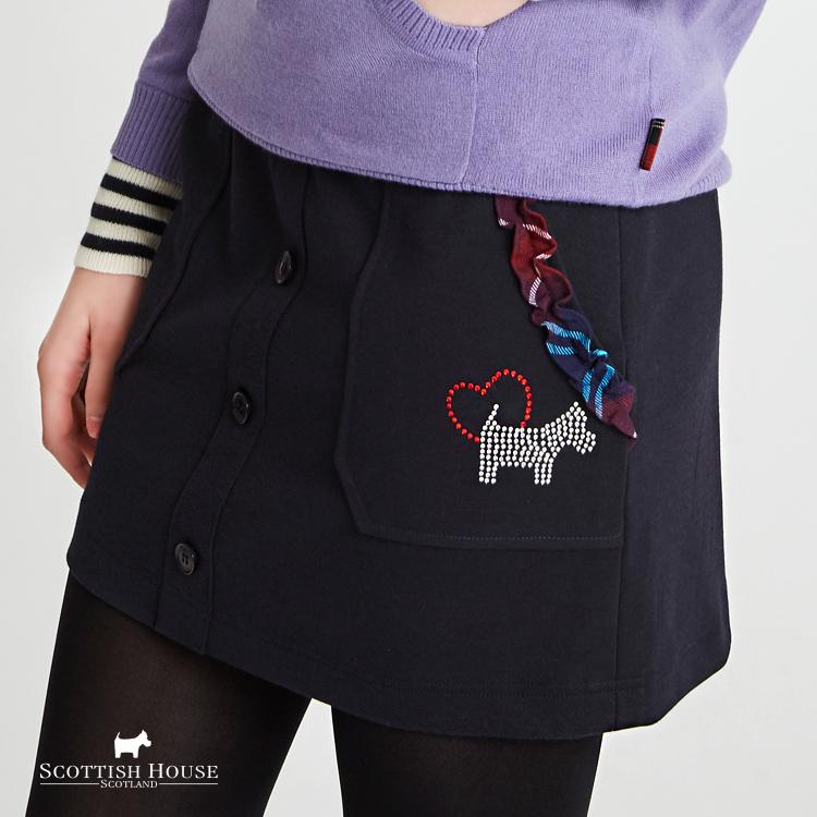 厚棉材質荷葉格紋袋口裙 Scottish House【AH2156】