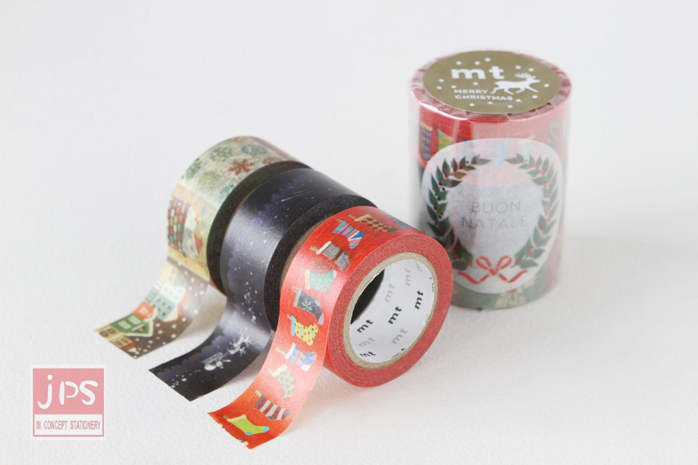 日本mt和紙膠帶2015聖誕款3入C款.附限定貼紙MTCMAS54