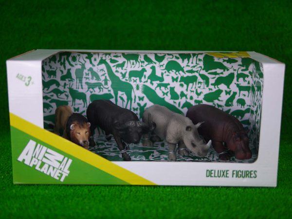 MOJO FUN動物模型精裝禮盒非洲動物四件組公獅非洲水牛白犀牛母河馬
