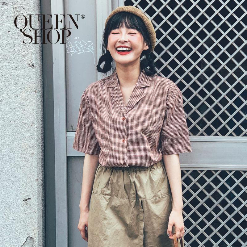 Queen Shop【01096349】童趣配色細格紋短袖棉麻上衣 兩色售*現+預*