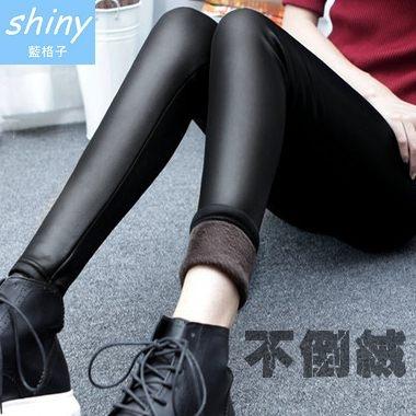 【A113】shiny藍格子-微醺冬氛.不倒絨仿皮加厚彈力保暖九分褲