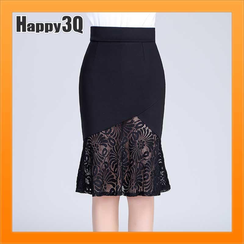 魚尾裙蕾絲裙短裙過膝裙包臀裙高腰裙中長裙工作裙大尺碼裙-蕾絲荷葉M-2L AAA2830預購