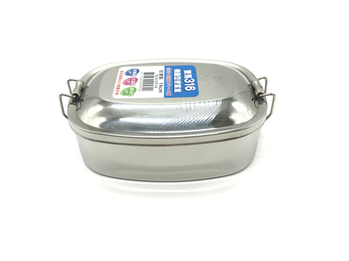 【好市吉居家生活】 寶馬牌 TA-S-127-14 316橢圓形便當盒 14CM 餐盒 不銹鋼 飯盒