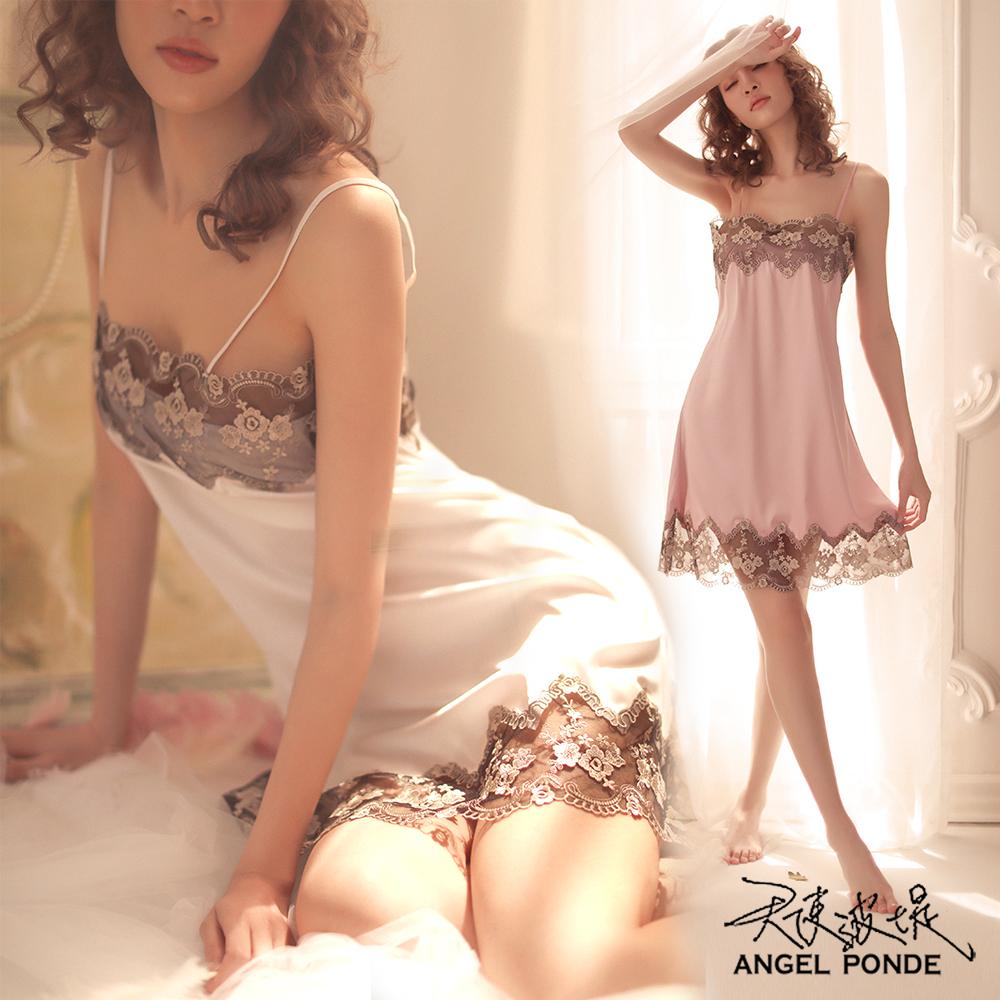 天使波堤【LD0497】平口吊帶蕾絲居家睡衣罩衫馬甲大尺碼連身緞面二件式-紅色 (共七色)