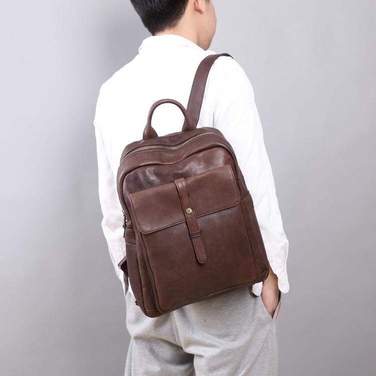 【Solomon 原創設計皮件】牛皮多功能拉鍊後背包 雙肩包可放A4 筆電 旅行