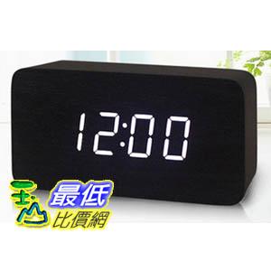 玉山最低比價網木頭時鐘木質黑色實木白光LED電子鐘時鐘鬧鐘溫度計591439 L217