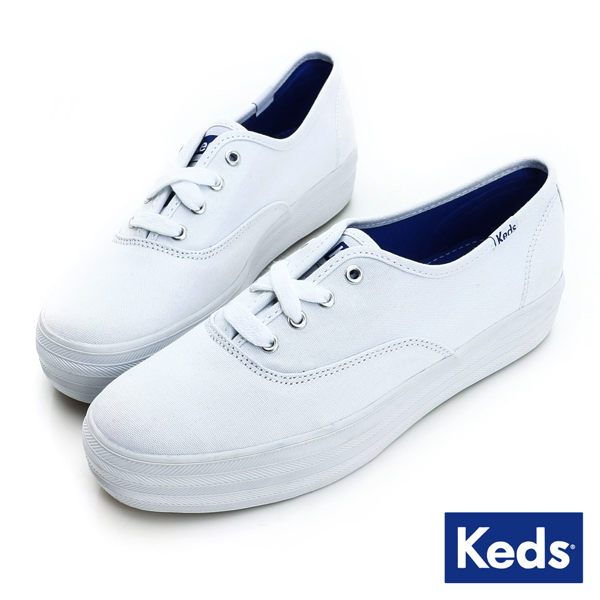 Keds TRIPLE 女款白色經典厚底帆布鞋-NO.KB5591