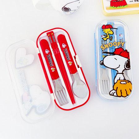 正版史努比 三件式筷匙組 餐具組 兒童用品 餐袋 環保 無毒 Snoopy 史奴比 台灣製