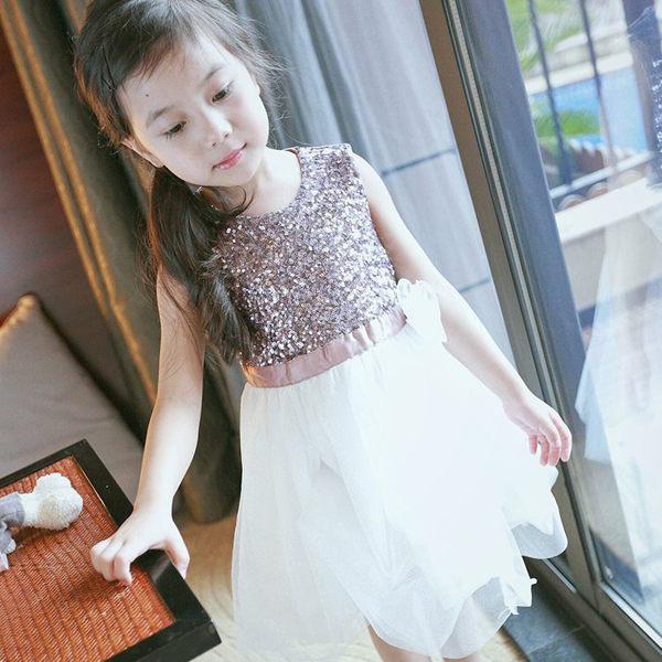 粉色氣質亮片公主蕾絲背心洋裝婚禮禮服連身橘魔法現貨童裝兒童花童服紗裙公主禮服