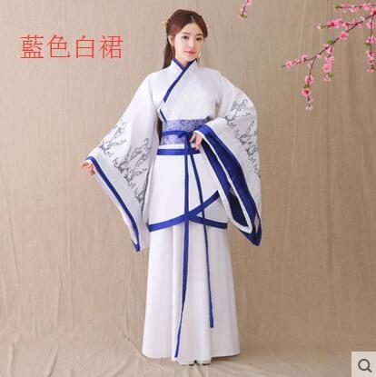 熊孩子漢服女2017新款改良古裝襦裙主圖款6藍色白裙