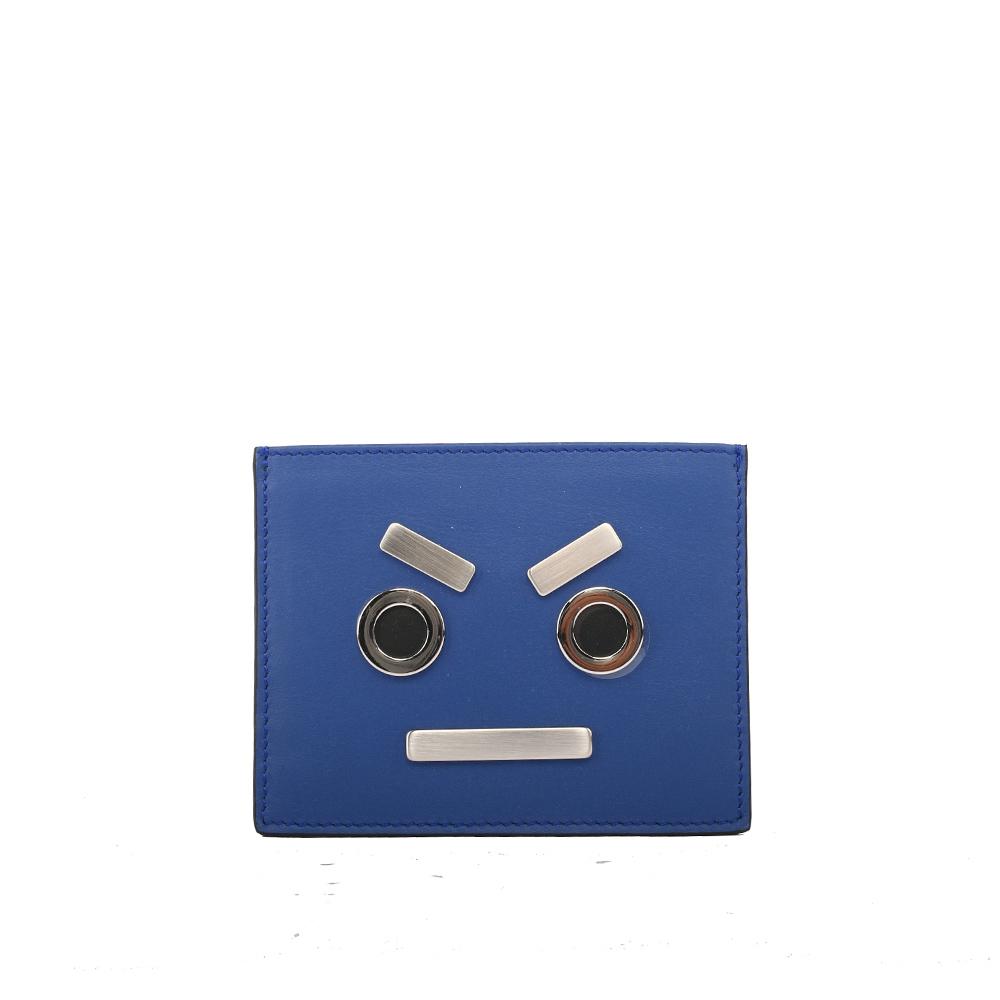FENDI表情圖案牛皮不銹鋼信用卡夾名片靛藍色7M0234 SL9 F0R49