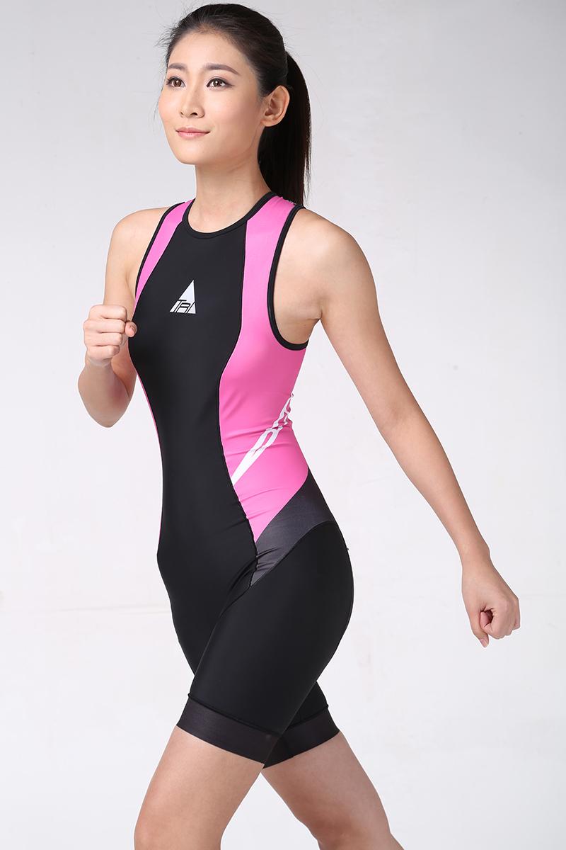 ATEMPO鐵人三項專用女款鯊魚鐵人連身服粉紅黑三鐵衣鐵三三鐵褲女車衣女車褲
