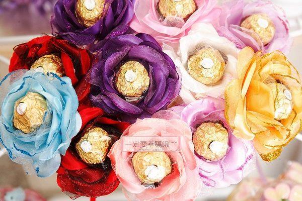一定要幸福哦~玫瑰金莎花棒.含金莎巧克力婚禮小物.生日禮物.情人節