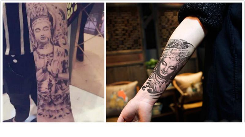 紋身貼 花臂紋身貼 紋身貼紙 刺青貼紙 佛像 彩繪 旅遊 出國 龍 中國風 刺青 微刺青 刺青圖【0066】