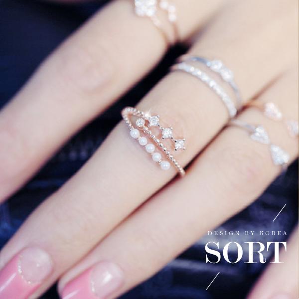 預購戒指三層開口珍珠鋯石戒指指環做工精緻百搭1DDR0179
