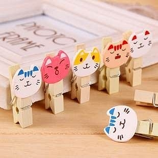 【發現。好貨】zakka可愛小貓咪原木小木夾 木質小木夾 創意相片木夾 10枚/套 附麻繩