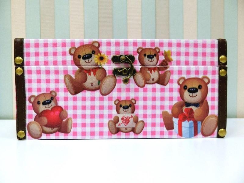 木製長形面紙盒LA120格紋小熊貼皮面紙盒皮革面紙盒木製面紙盒收納200抽絢寓居家