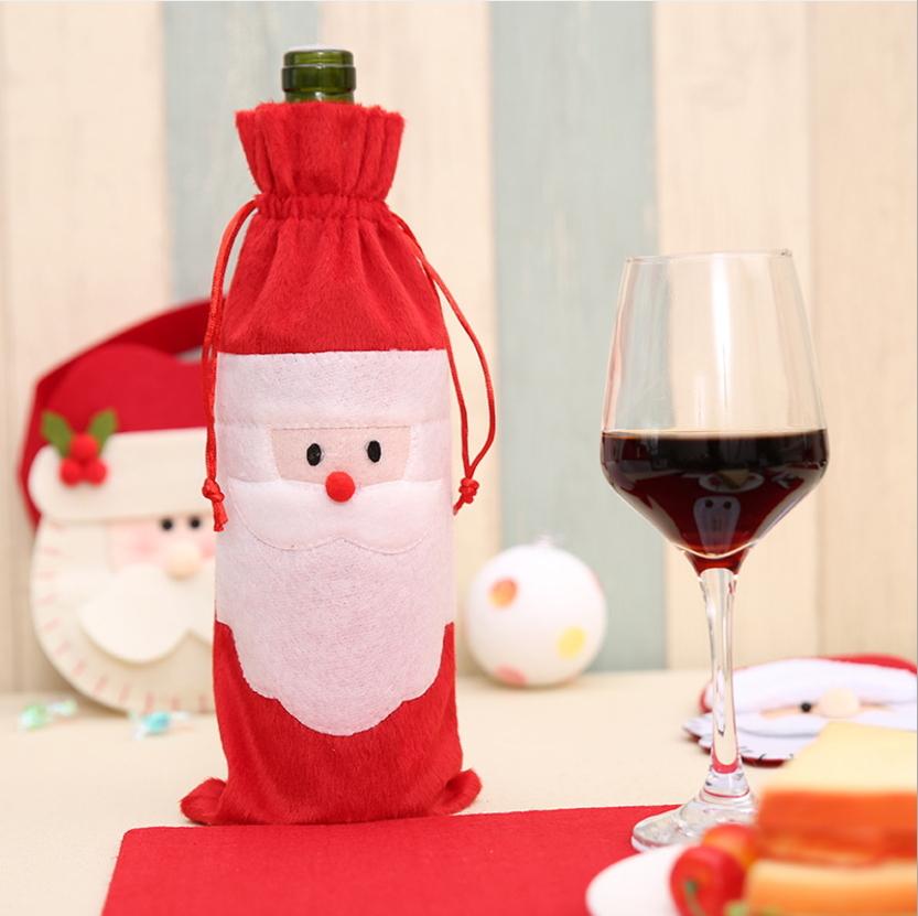 聖誕裝飾品聖誕老人紅酒瓶袋紅酒袋禮品袋香檳紅酒套預購CH2573