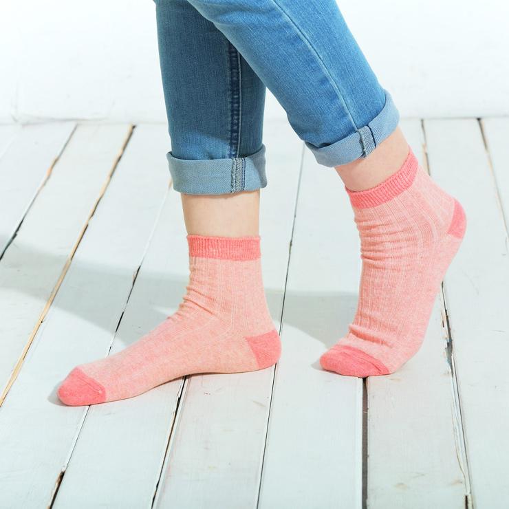 【101原創】台灣製.寬羅紋質感配色半筒襪(女)共3色