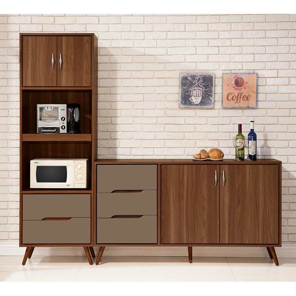 【森可家居】米蘭7尺餐櫃 (全組) 6ZX903-2 收納廚房櫃  碗盤碟櫃 木紋質感 工業風 北歐風